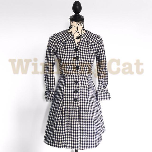 (D177)Vintage Checkered Dress