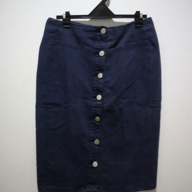Denim Skirt Navy Blue