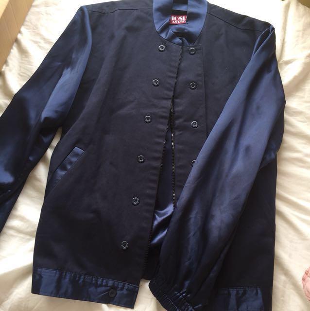 Designer Navy Blue Button Down Crew Jacket With Satin Sleeves