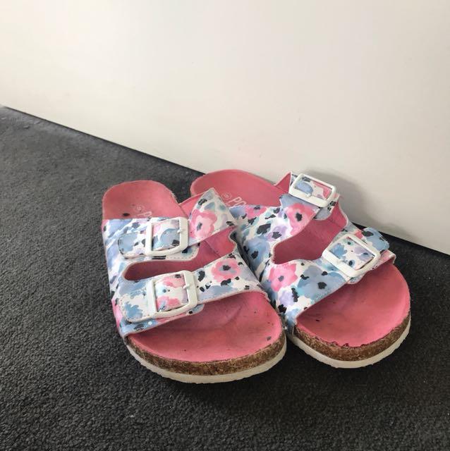 Floral Birkenstock style shoe