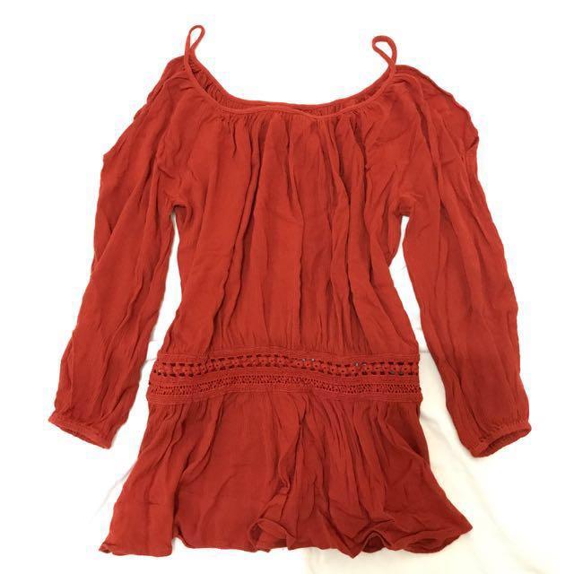 Forever 21 Cold Shoulder Bohemian Dress