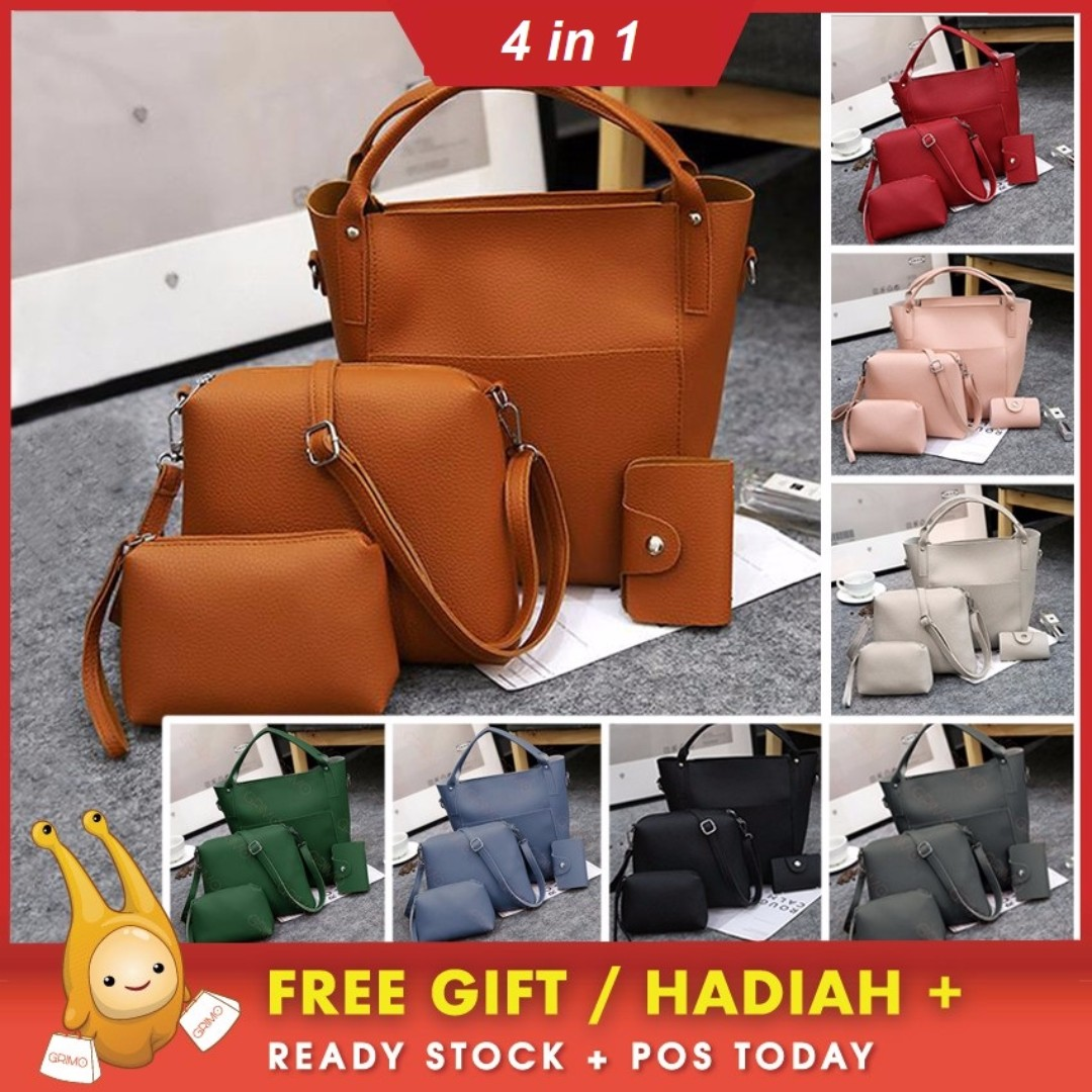 [FREE POS TODAY]4 in 1 Double Pocket Bags Bag Tote Shoulder Sling Beg Handbag