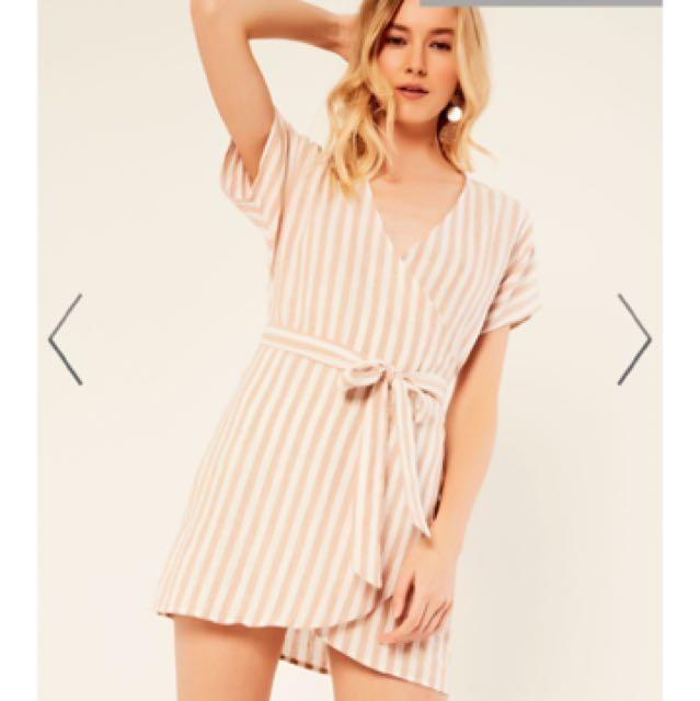 Glassons linen wrap stripe dress size 10
