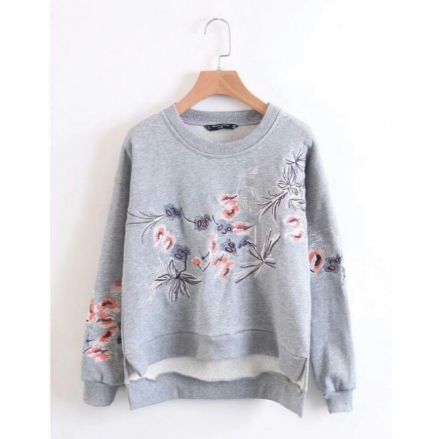 Grey Embroidery Sweater