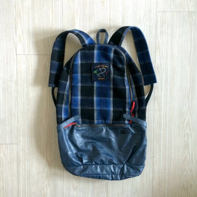 groovy store 藍格紋後背包