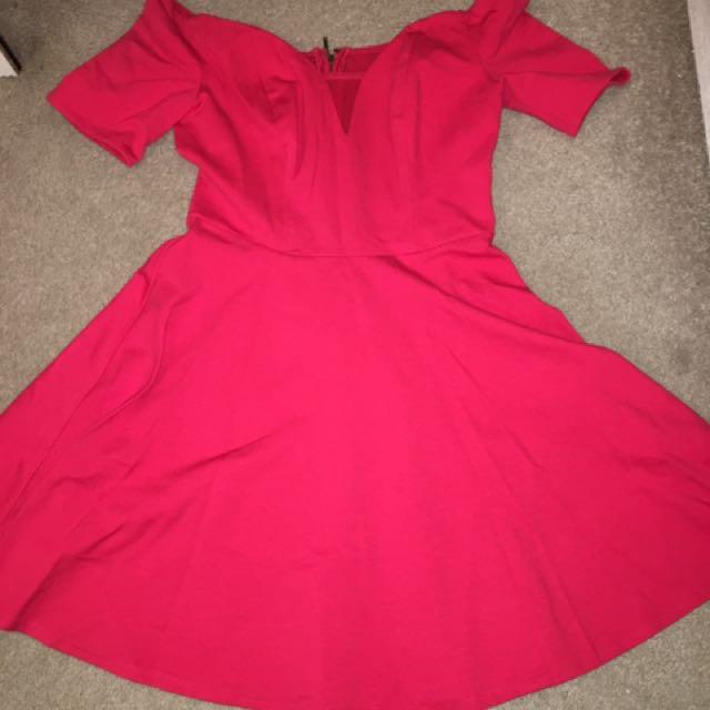 Guess Red Off Shoulder Dress
