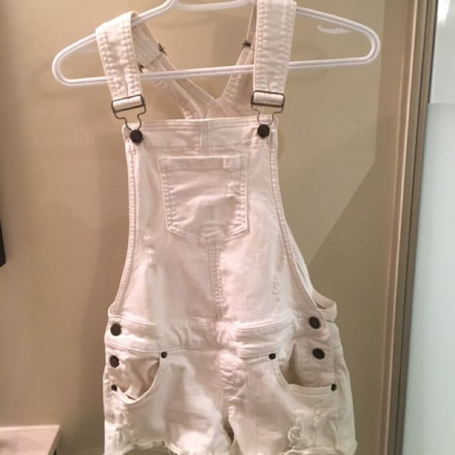 GUESS white denim overalls