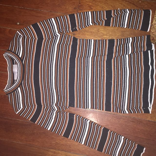 High neck stripy long sleeve top