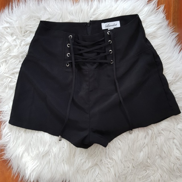 High Waist Lace Up Front Shorts