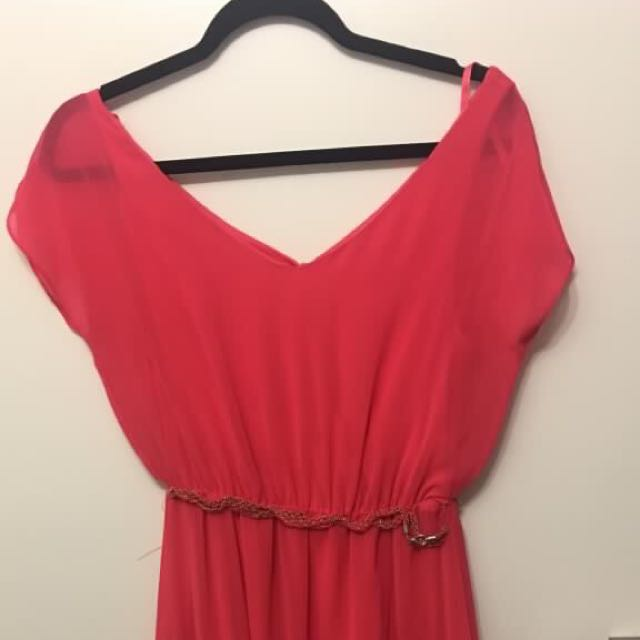 Hot Pink Dress with Silver Belt -Size XS