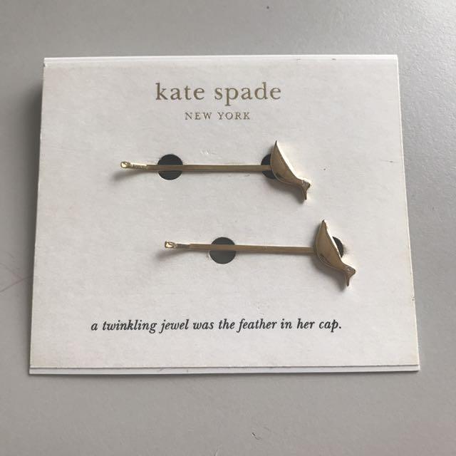 Kate spade 金色小鳥和平鴿可愛細緻一字夾髮夾邊夾瀏海