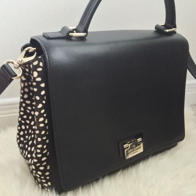Kate spade black leather polka dot two-way bag