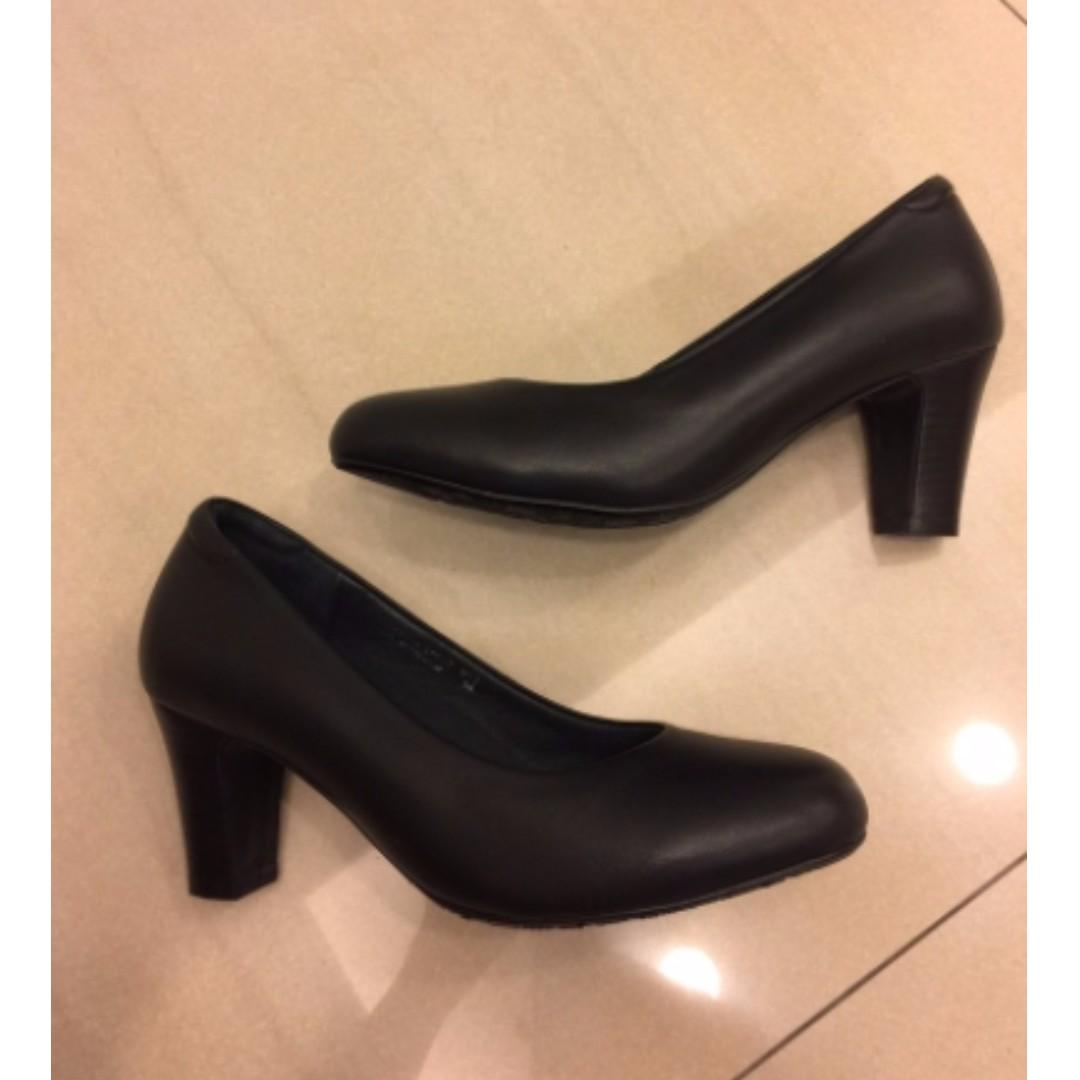 LA NEW 真皮黑色圓頭氣墊高跟鞋24號 (空姐鞋 面試鞋 報告專題 全新含鞋盒)