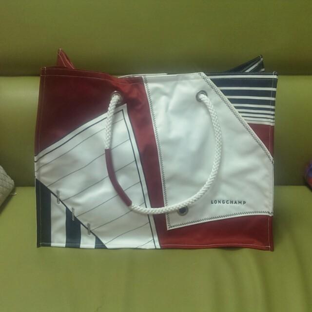 (有購證)LONGCHAMP全新特賣會購入拼接紅白藍大包