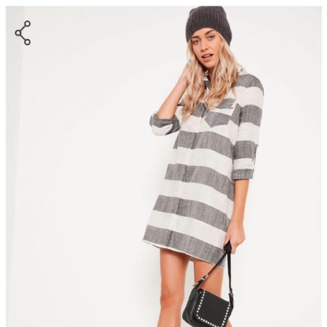 Misguided grey stripe linen dress size 6