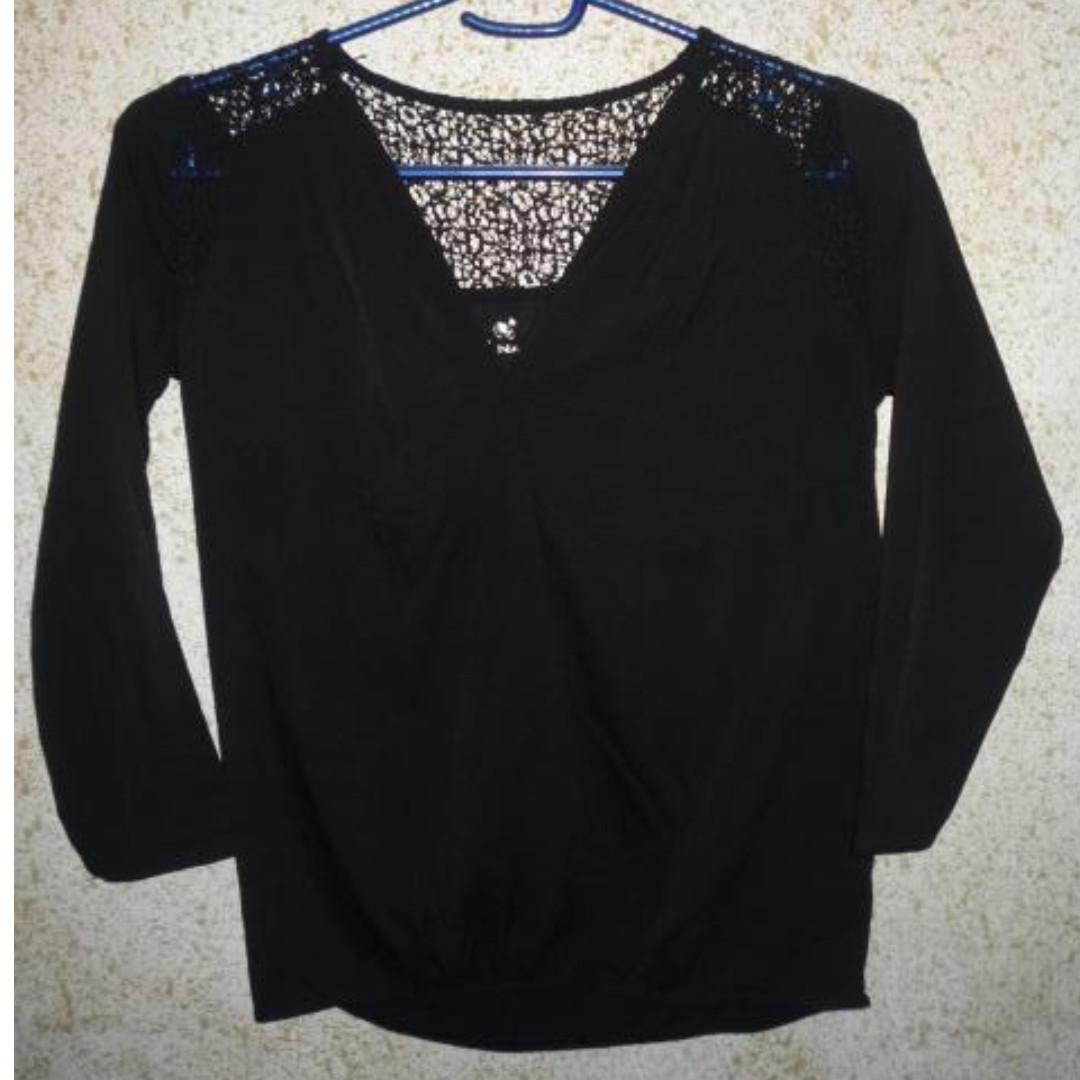 Naf Naf Paris black top with lace detail