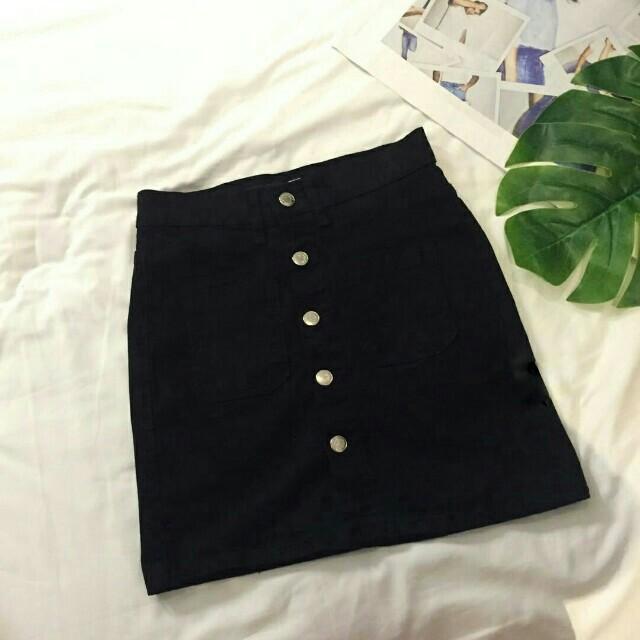 (NEW) Button Denim Skirt