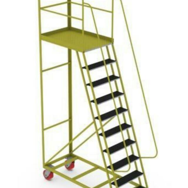 New mobile ladder trolley - 18 steps heavy duty blue steel frame on caster wheels