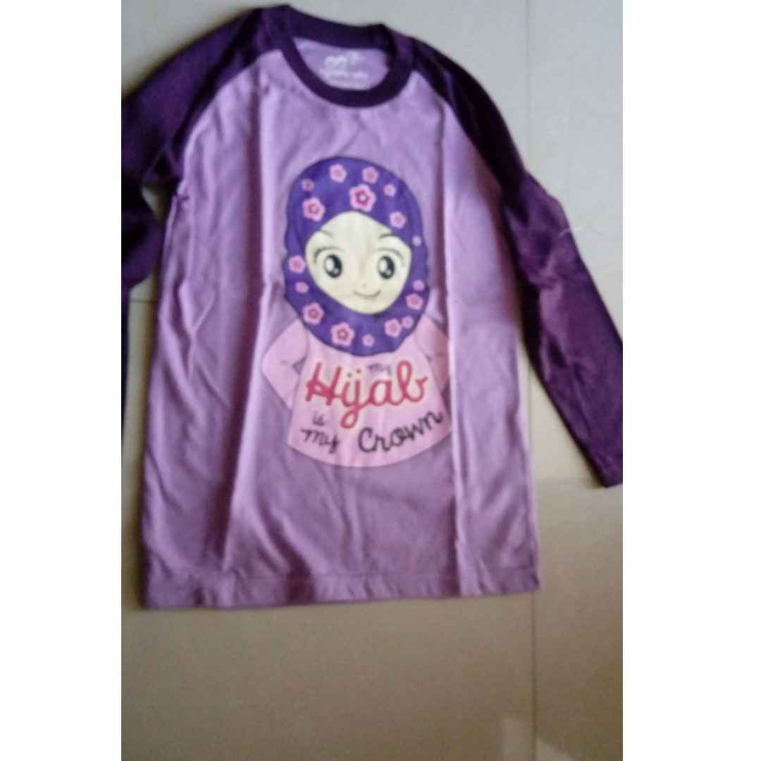Newww Baju anak gambar muslimah kid warna purple