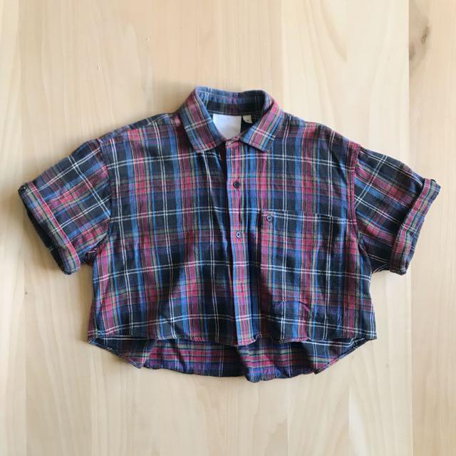 OAK Cropped Plaid Shirt