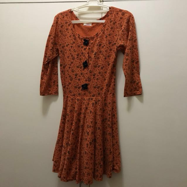 Orange Floral Dress (S-M)