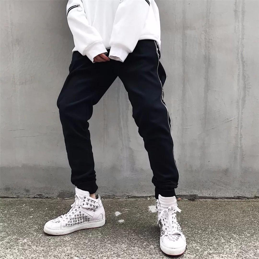 【Oscar】運動褲 休閒褲 縮口 棉質 束腳 情侶 拉鍊