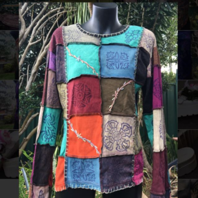 Patchwork tree of life s/m long sleeve top