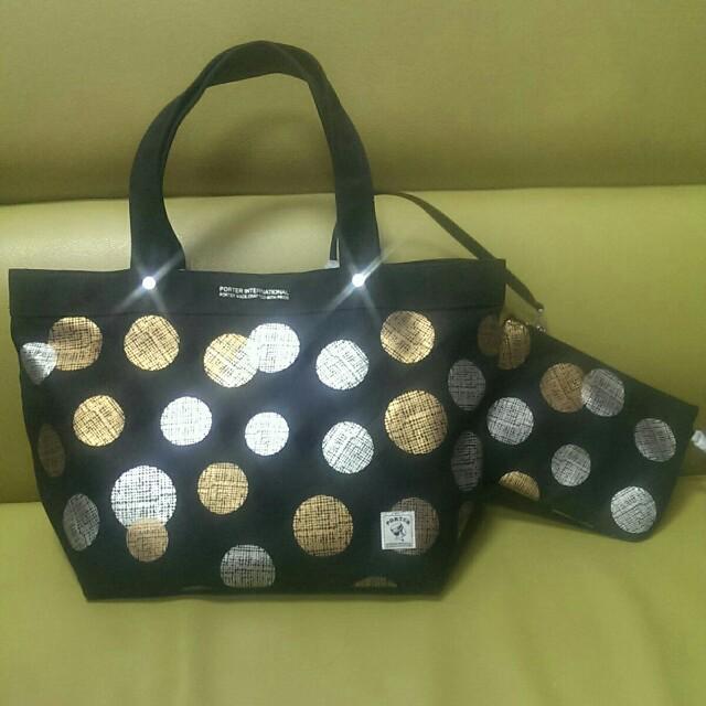 (有購證)PORTER全新黑色閃亮金銀球帆布包