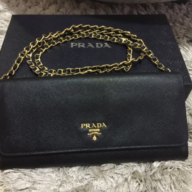 4195aee90b03 coupon code prada wallet on gold chain black woc ghw womens fashion bags  50b01 6fde1