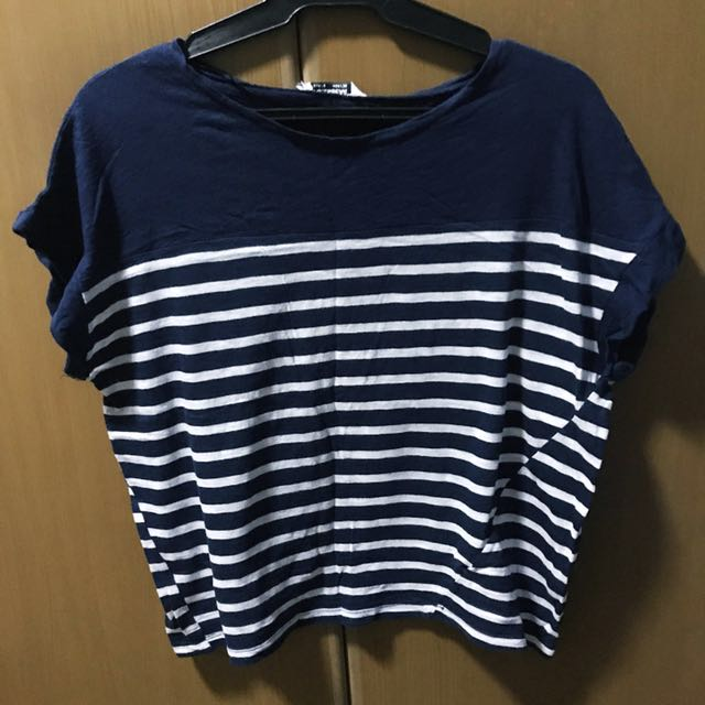 Pull & Bear Navy Blue Stripes Shirt - small