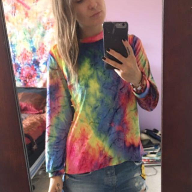 Rainbow Tie-Dye Velvet top