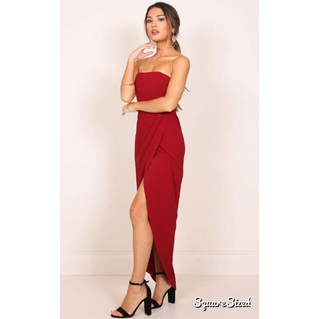 RENTING Wine Red Bandeau Formal Dress