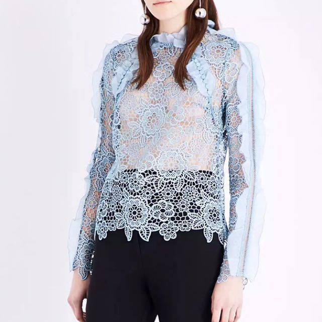 Self portrait blue floral lace top