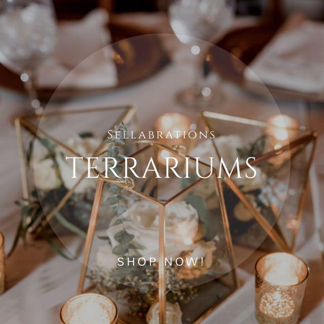 [Sellabrations] Gold Geometric Glass Terrarium Container Holder Singapore