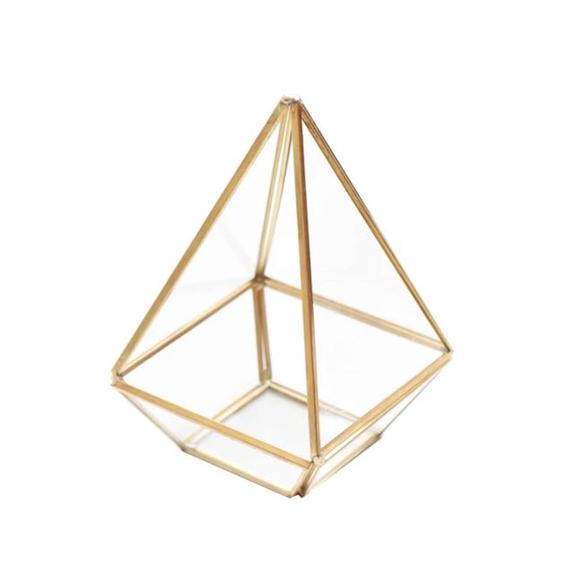 [Sellabrations] Pyramid Gold Geometric Glass Terrarium
