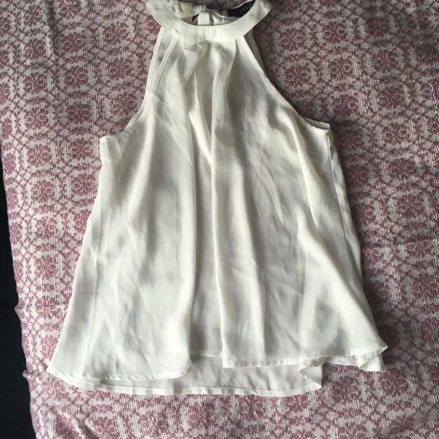 Sheer White Top || size 8