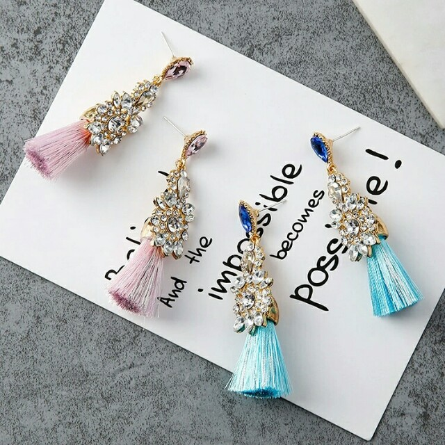 Statement crystal tassel drop earrings