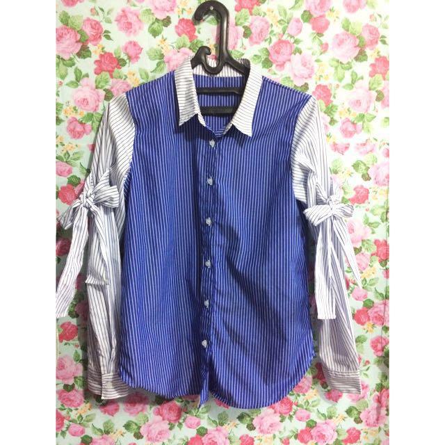 Stripe blouse with ribbon