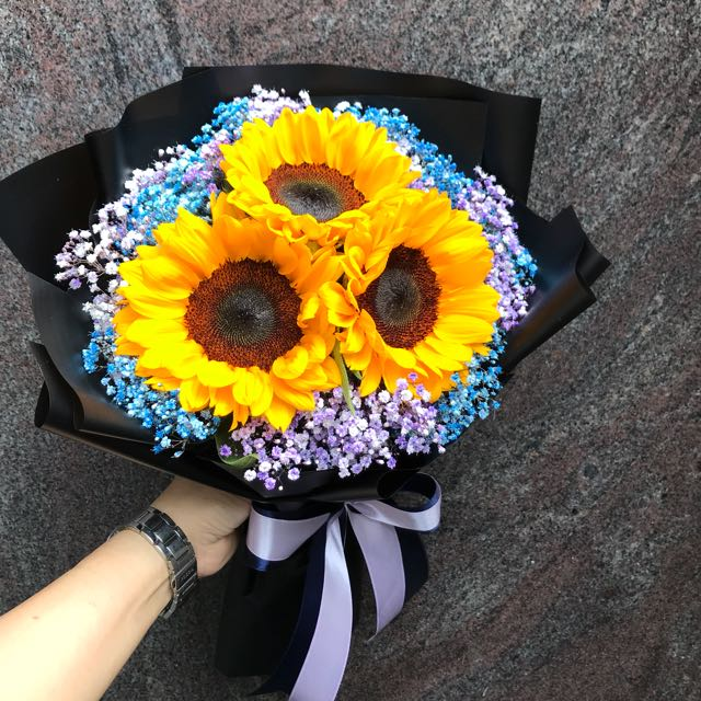 Sunflowers And Colourful Baby Breath Hand Bouquet