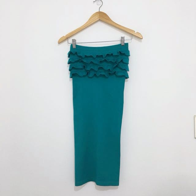 Teal Body Con Tube Dress