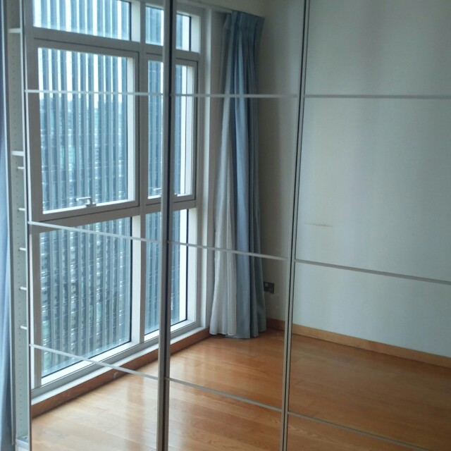 Two full hight Ikea PAX wardrobes with mirror doors, Furniture ...