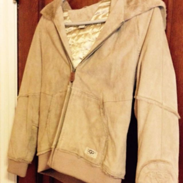 UGG coat with collapsible hood, Girls size 12. Worn once.