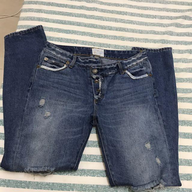 Ungrid 不規則扣低腰牛仔褲