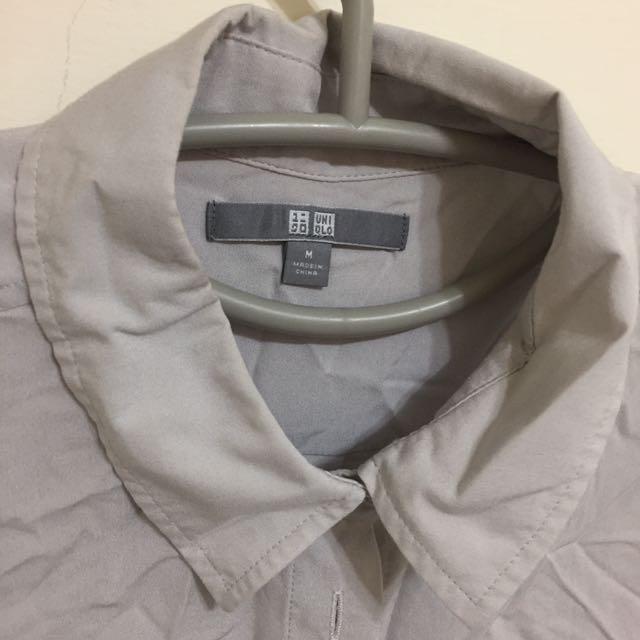 [Uniqlo]淺灰長袖襯衫