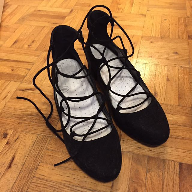 UO Black Suede Lace-UP Heels