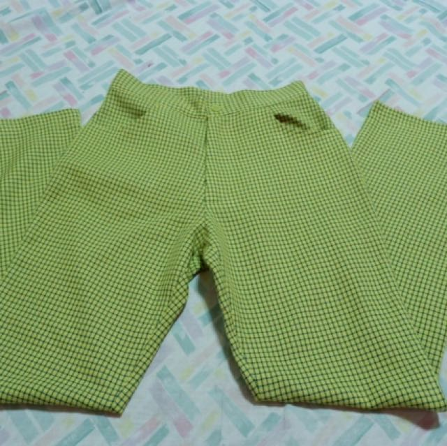 Yellow Green Vintage Grid Pants