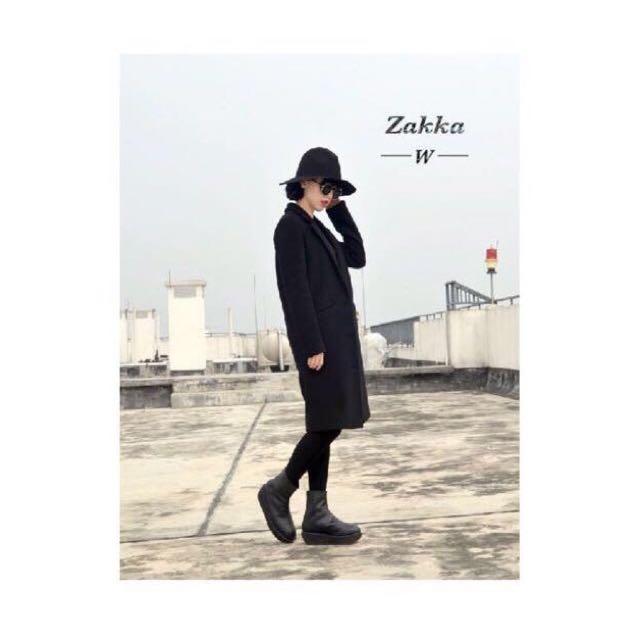 Zakka W 內鋪棉黑色西裝大衣外套