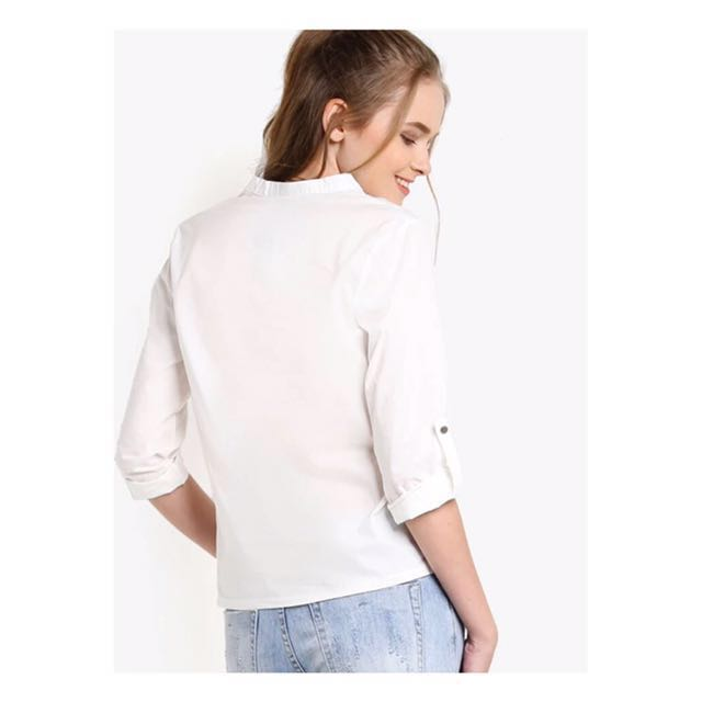 ZALORA White chic collar top