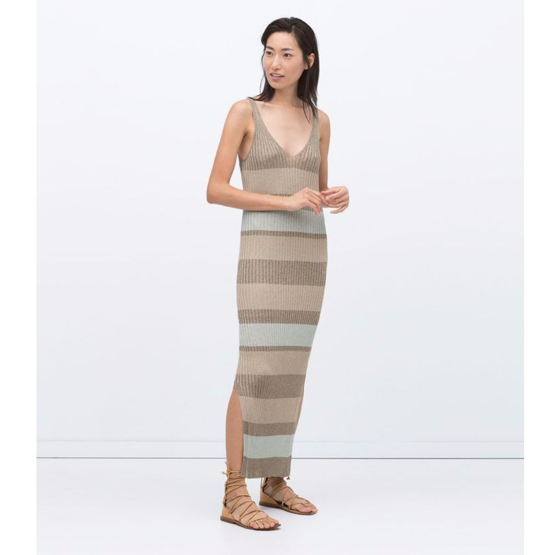 ZARA Striped Knit Ribbed Maxi Dress w/ Slip , NEW, size M