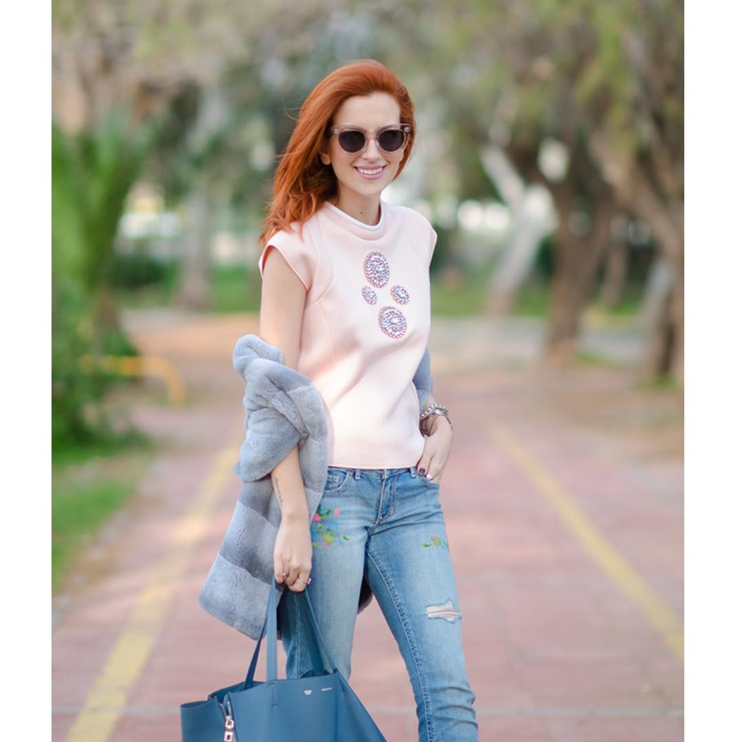 Zara Technical Fabric Top With Jewel, Size S